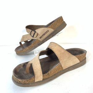 Mephisto Helen Tan Leather Strap Sandals Sz 8